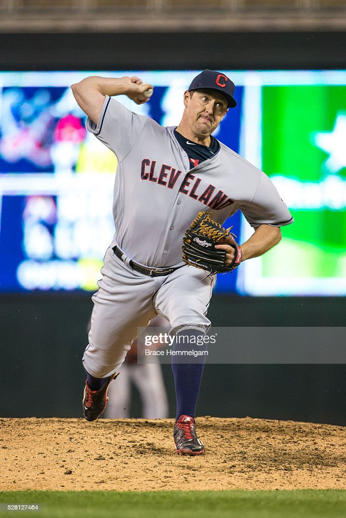 <a gi-track='captionPersonalityLinkClicked' href=/galleries/search?phrase=Bryan+Shaw+-+Baseball+Player&family=editorial&specificpeople=11376278 ng-click='$event.stopPropagation()'>Bryan Shaw</a> #27 of the Cleveland Indians pitches against the Minnesota Twins on April 27, 2016 at Target Field in Minneapolis, Minnesota. The Indians defeated the Twins 6-5.