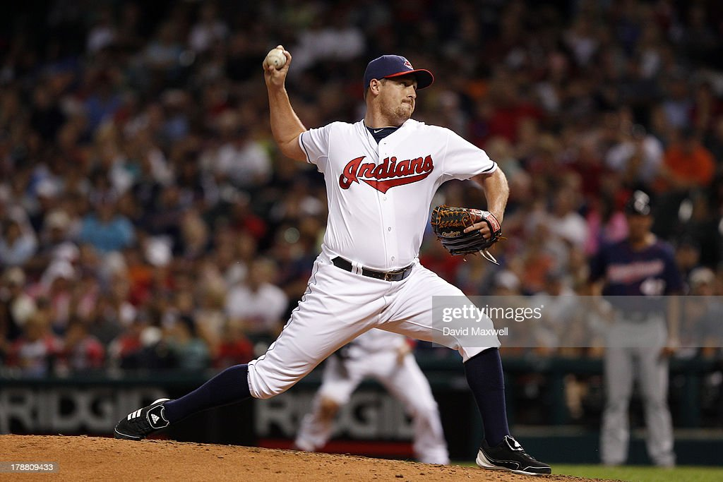 Bryan Shaw #27 of the Cleveland Indians pitches against the Minnesota Twins during the seventh inning of their game on August 23, 2013 at Progressive Field in Cleveland, Ohio. The Twins defeated the Indians 5-1.