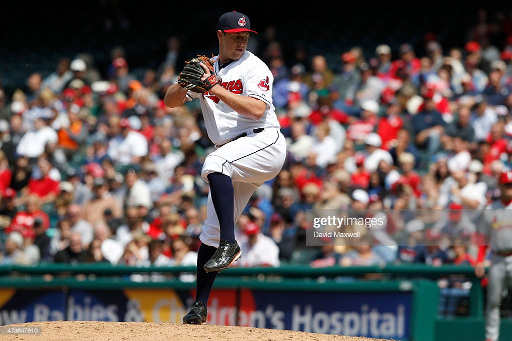 <a gi-track='captionPersonalityLinkClicked' href=/galleries/search?phrase=Bryan+Shaw+-+Baseball+Player&family=editorial&specificpeople=11376278 ng-click='$event.stopPropagation()'>Bryan Shaw</a> #27 of the Cleveland Indians pitches against the St. Louis Cardinals during the ninth inning of their game on May 14, 2015 at Progressive Field in Cleveland, Ohio. the Cardinals defeated the Indians 2-1.