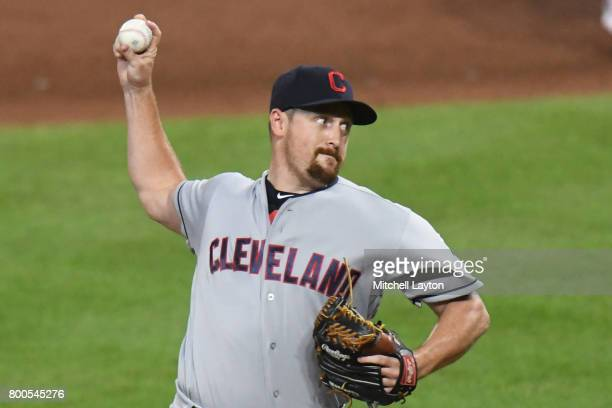 Bryan Shaw of the Cleveland Indians pitches during a baseball game against the Baltimore Orioles at Oriole park at Camden Yards on June 21 2017 in...