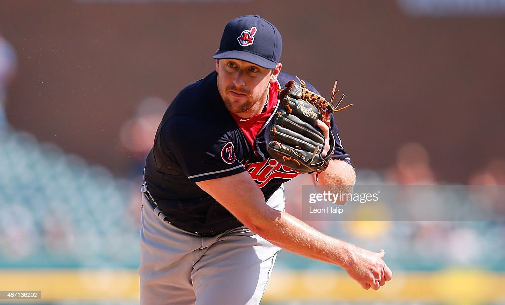 <a gi-track='captionPersonalityLinkClicked' href=/galleries/search?phrase=Bryan+Shaw+-+Baseball+Player&family=editorial&specificpeople=11376278 ng-click='$event.stopPropagation()'>Bryan Shaw</a> #27 of the Cleveland Indians pitches during in the eight inning of the game against the Detroit Tigers on September 6, 2015 at Comerica Park in Detroit, Michigan.