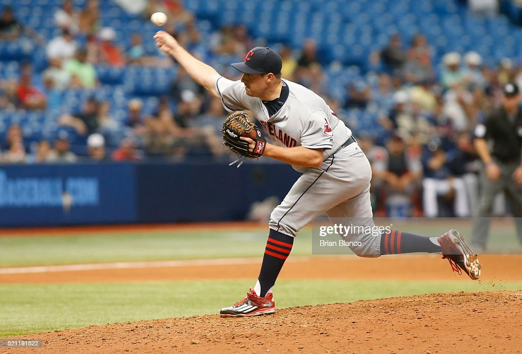 <a gi-track='captionPersonalityLinkClicked' href=/galleries/search?phrase=Bryan+Shaw+-+Baseball+Player&family=editorial&specificpeople=11376278 ng-click='$event.stopPropagation()'>Bryan Shaw</a> #27 of the Cleveland Indians pitches during the eighth inning of a game against the Tampa Bay Rays on April 14, 2016 at Tropicana Field in St. Petersburg, Florida.