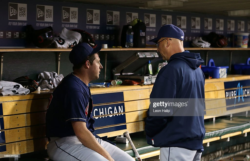 Bryan Shaw #27 of the Cleveland Indians talks to manager <a gi-track='captionPersonalityLinkClicked' href=/galleries/search?phrase=Terry+Francona&family=editorial&specificpeople=171936 ng-click='$event.stopPropagation()'>Terry Francona</a> #17 after leaving in the sixth inning of the game against the Detroit Tigers at Comerica Park on May 10, 2013 in Detroit, Michigan. The Tigers defeated the Indians 10-4.