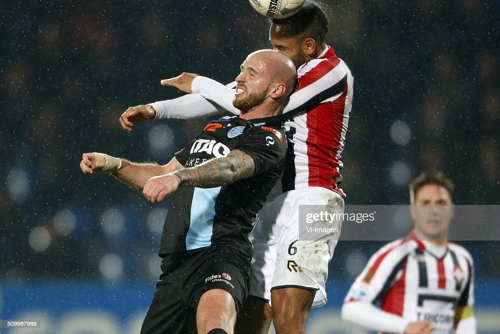 , Bryan Smeets of De Graafschap, Funso Ojo of Willem II during the Dutch Eredivisie match between Willem II Tilburg and De Graafschap at Koning Willem II stadium on February 13, 2016 in Tilburg, The Netherlands