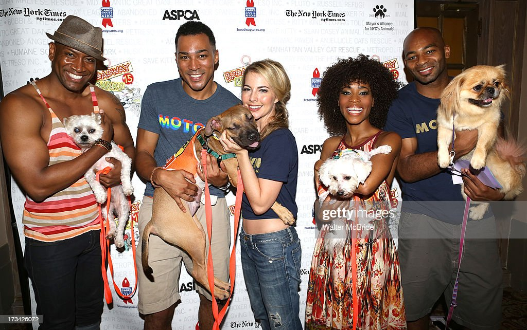 Bryan Terrell Clark, Charl Brown, Morgan James, Valisia LeKae and Brandon Victor Dixon backstage during Broadway Barks 15 in Shubert Alley on July 13, 2013 in New York City.