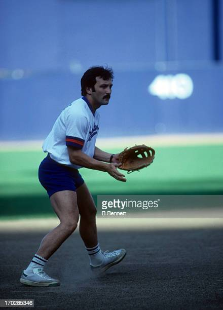 Bryan Trottier of the New York Islanders plays the infield during a charity softball match at Shea Stadium Flushing Queens New York September 1982