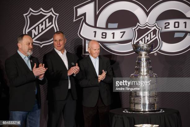 Bryan Trottier Paul Coffey and Dave Keon stand with the Stanley Cup as they are introduced during the 2017 Scotiabank NHL 100 Classic announcement at...