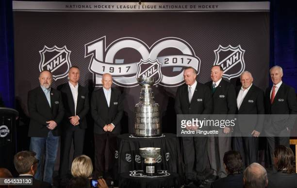 Bryan Trottier Paul Coffey Dave Keon Guy Lafleur Frank Mahovlich Bernie Parent and Mike Bossy stand with the Stanley Cup as they are introduced...