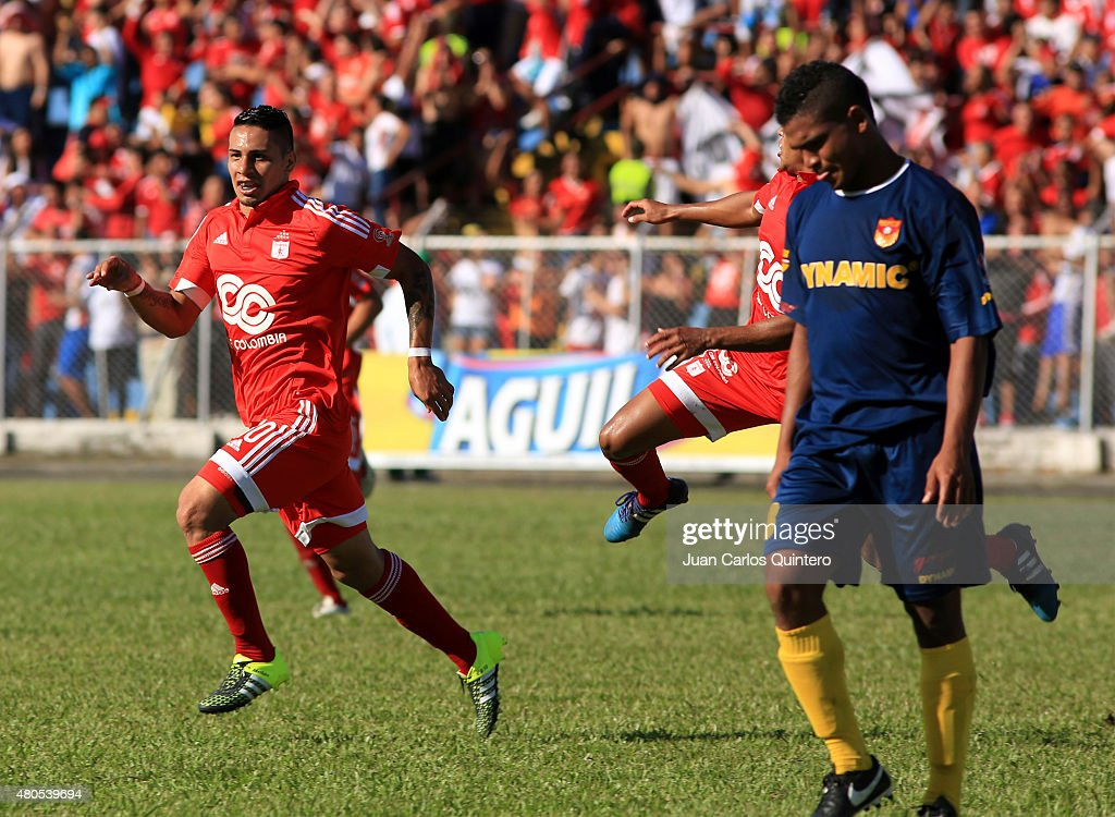 Bryan Urueña of America de Cali celebrates after scoring the first goal of his team during a match between America de Cali and Bogota FC as part of 17th round of Torneo Aguila 2015 at 12 de Octubre Stadium on July 12, 2015 in Tulua, Colombia.