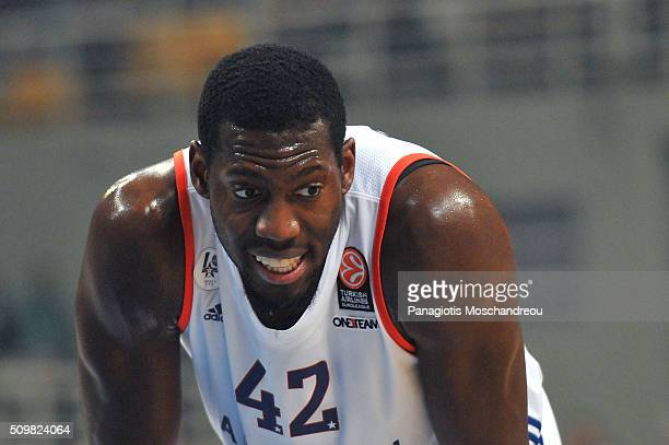 Bryant Dunston #42 of Anadolu Efes Istanbul react during the Turkish Airlines Euroleague Basketball Top 16 Round 7 game between Panathinaikos Athens...
