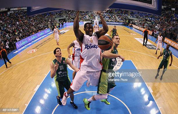 Bryant Dunston #6 of Olympiacos Piraeus in action during the 20132014 Turkish Airlines Euroleague Regular Season Date 6 game between Unicaja Malaga v...