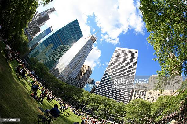 Bryant Park and skyline Manhattan New York USA