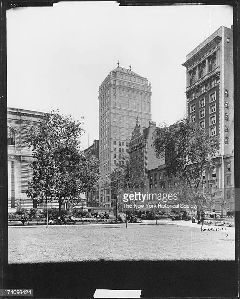 Bryant Park between Fifth Avenue and Sixth Avenue near 40th Street behind the New York Public Library looking east toward Fifth Avenue New York New...