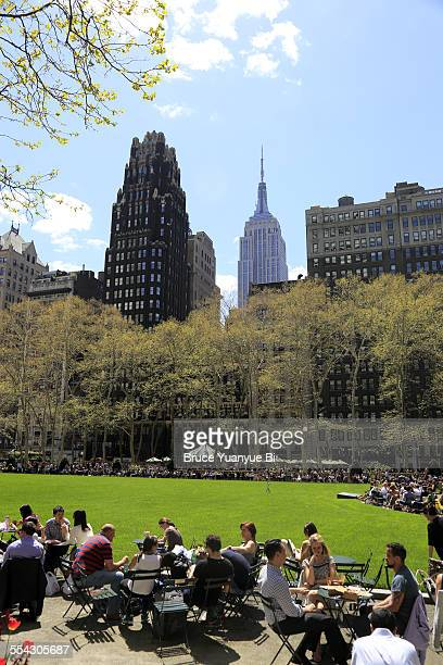 Bryant Park with Midtown Manhattan skyline