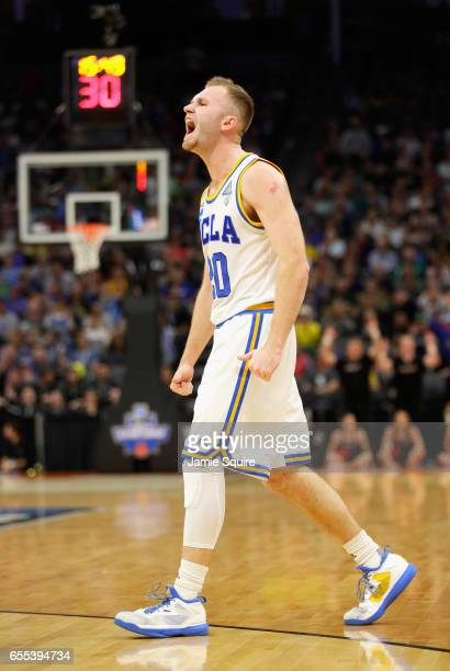Bryce Alford of the UCLA Bruins reacts after a play against the Cincinnati Bearcats during the second round of the 2017 NCAA Men's Basketball...