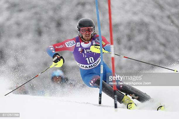 Bryce Bennett of the USA competes during the Audi FIS Alpine Ski World Cup Men's Super Combined on February 19 2016 in Chamonix France
