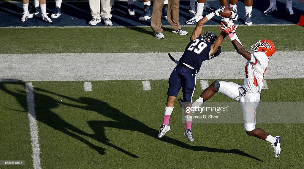 Bryce Callahan #29 of the Rice Owls intercepts the ball from Ian Hamilton #14 of the UTEP Miners on October 26, 2013 at Rice Stadium in Houston, Texas. Rice won 45 to 7.