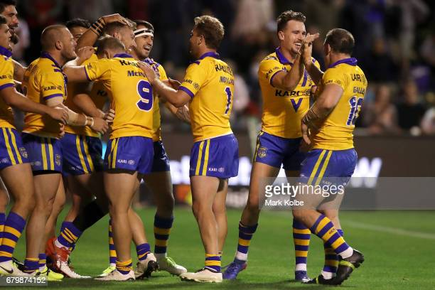 Bryce Cartwright of City celebrates with his team mates after scoring a try during the 2017 City versus Country Origin match at Glen Willow Sports...