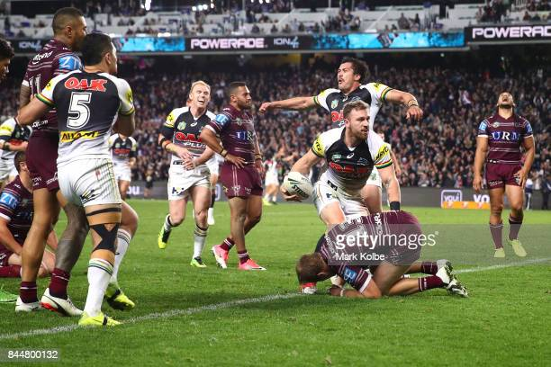 Bryce Cartwright of the Panthers celebrates scoring a try during the NRL Elimination Final match between the Manly Sea Eagles and the Penrith...