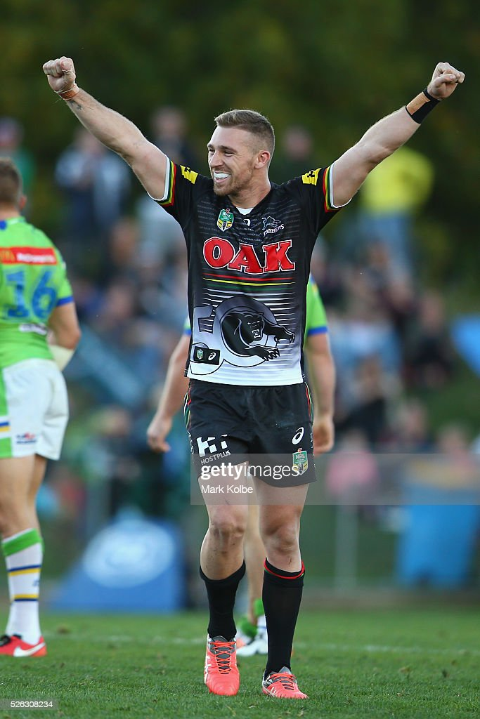 Bryce Cartwright of the Panthers celebrates victory during the round nine NRL match between the Penrith Panthers and the Canberra Raiders at Carrington Park on April 30, 2016 in Bathurst, Australia.