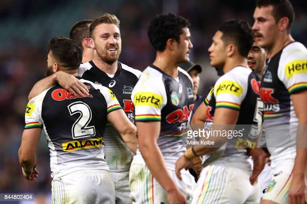 Bryce Cartwright of the Panthers celebrates victory with his team mates during the NRL Elimination Final match between the Manly Sea Eagles and the...
