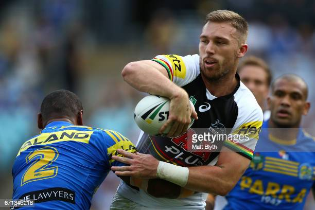 Bryce Cartwright of the Panthers offloads the ball during the round eight NRL match between the Parramatta Eels and the Penrith Panthers at ANZ...