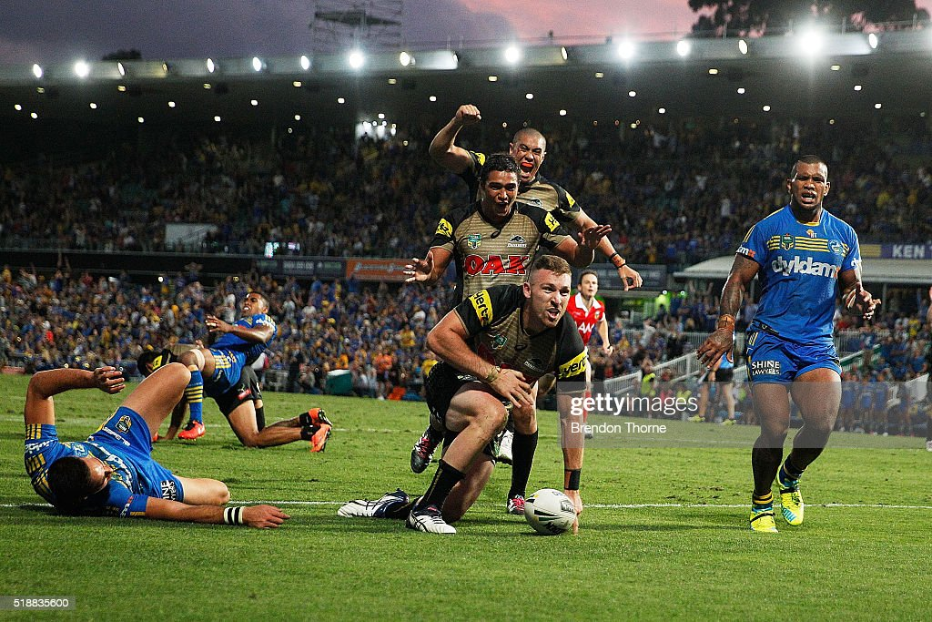 Bryce Cartwright of the Panthers scores the winning try during the round five NRL match between the Parramatta Eels and the Penrith Panthers at...
