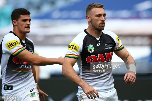 Bryce Cartwright of the Panthers stretches before the round eight NRL match between the Parramatta Eels and the Penrith Panthers at ANZ Stadium on...