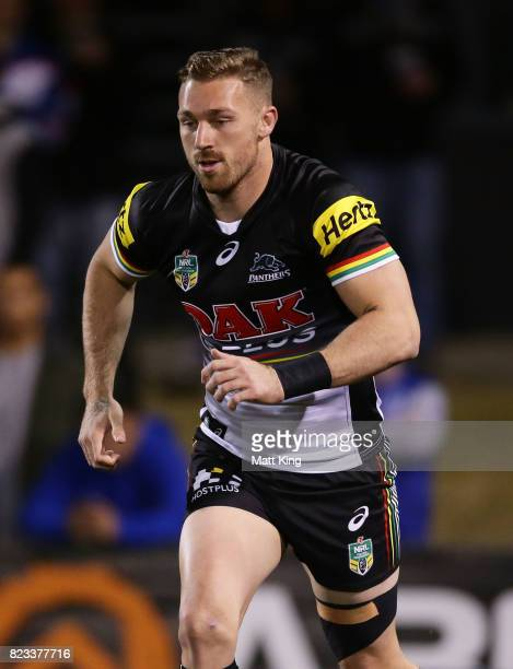 Bryce Cartwright of the Panthers warms up before the round 21 NRL match between the Penrith Panthers and the Canterbury Bulldogs at Pepper Stadium on...