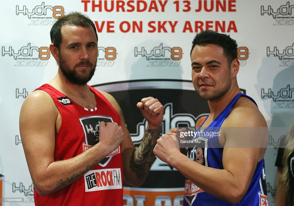 Bryce Casey of The Rock radio station (L) and Nickson Clark of Mai FM face off during the weight in ahead of tomorrow night's celebrity bout between Bryce Casey and Nickson Clark at Trusts Stadium on June 12, 2013 in Auckland, New Zealand.