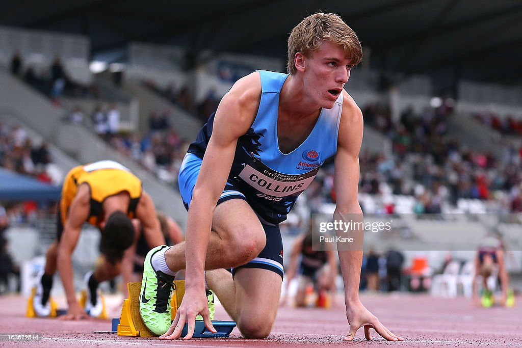Bryce Collins of New South Wales awaits the start of the men's u18 400 metre hurdles final during day three of the Australian Junior Championships at the WA Athletics Stadium on March 14, 2013 in Perth, Australia.