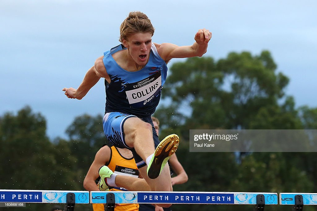 Bryce Collins of New South Wales competes in the men's u18 400 metre hurdles final during day three of the Australian Junior Championships at the WA Athletics Stadium on March 14, 2013 in Perth, Australia.