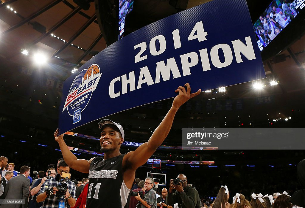 Bryce Cotton of the Providence Friars celebrates their 65 to 58 win over the Creighton Bluejays in the Championship game of the 2014 Men's Big East...