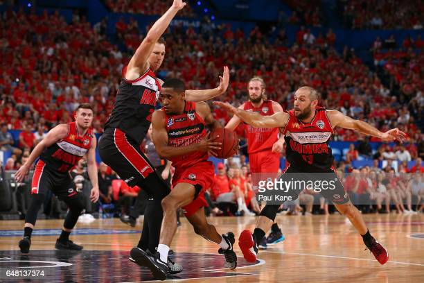 Bryce Cotton of the Wildcats drives to the basket during game three of the NBL Grand Final series between the Perth Wildcats and the Illawarra Hawks...