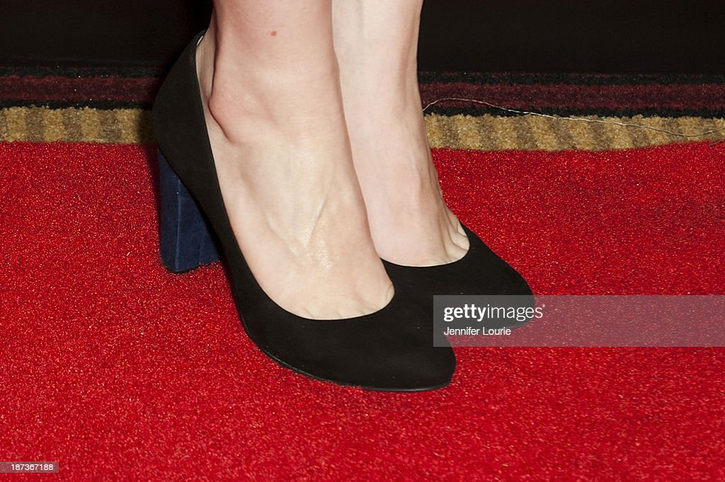 Bryce Dallas Howard (shoe detail) attends the Los Angeles screening for Canon's 'Project Imaginat10n' film festival at Pacific Theatre at The Grove on November 7, 2013 in Los Angeles, California.