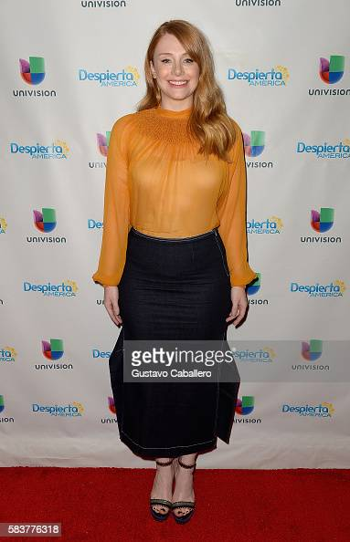 Bryce Dallas Howard on the set of Univisions 'Despierta America' to support the film 'Pete's Dragon' at Univision Studios on July 27 2016 in Miami...