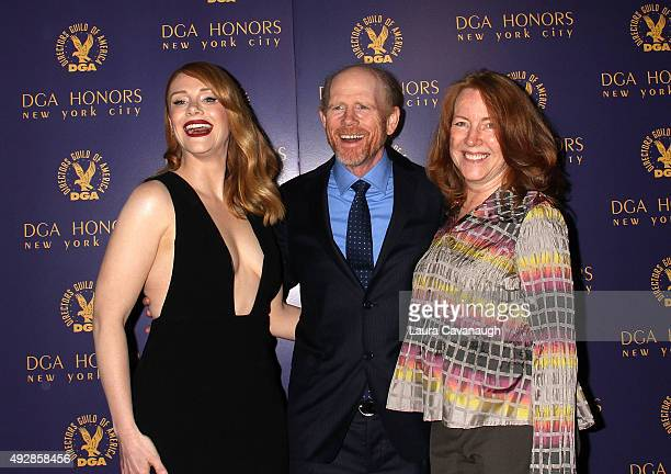 Bryce Dallas Howard Ron Howard and Cheryl Howard attend the DGA Honors Gala 2015 on October 15 2015 in New York City