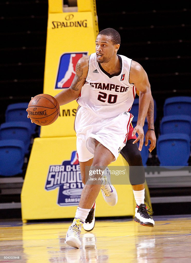 Bryce DejeanJones of the Idaho Stampede dribbles the ball against the Fort Wayne Mad Ants during the 2016 NBA DLeague Showcase presented by SAMSUNG...