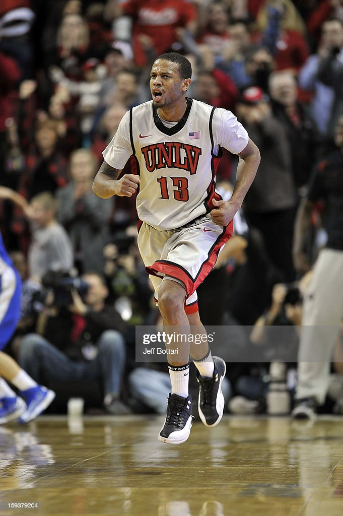 Bryce Dejean-Jones #13 of the UNLV Rebels runs up the court on defense after making a big shot to go up against the Air Force Falcons at the Thomas & Mack Center on January 12, 2013 in Las Vegas, Nevada. The Rebels won 76-71.