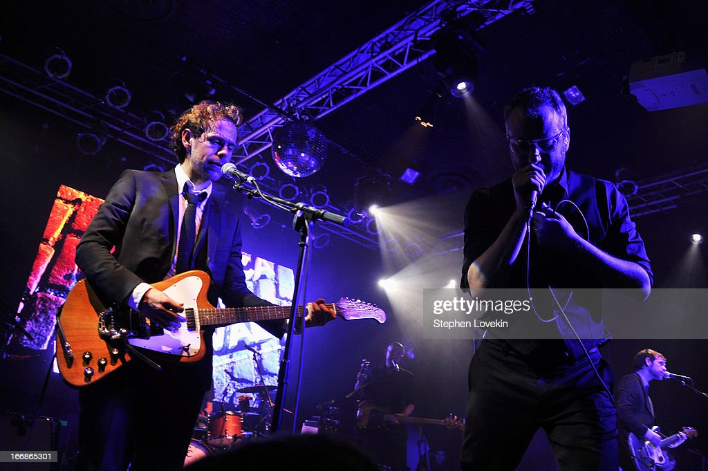 <a gi-track='captionPersonalityLinkClicked' href=/galleries/search?phrase=Bryce+Dessner&family=editorial&specificpeople=4836612 ng-click='$event.stopPropagation()'>Bryce Dessner</a> and <a gi-track='captionPersonalityLinkClicked' href=/galleries/search?phrase=Matt+Berninger&family=editorial&specificpeople=4334193 ng-click='$event.stopPropagation()'>Matt Berninger</a> of The National perform at the 2013 Tribeca Film Festival opening night after party for 'Mistaken For Strangers' sponsored by American Express on April 17, 2013 in New York City.
