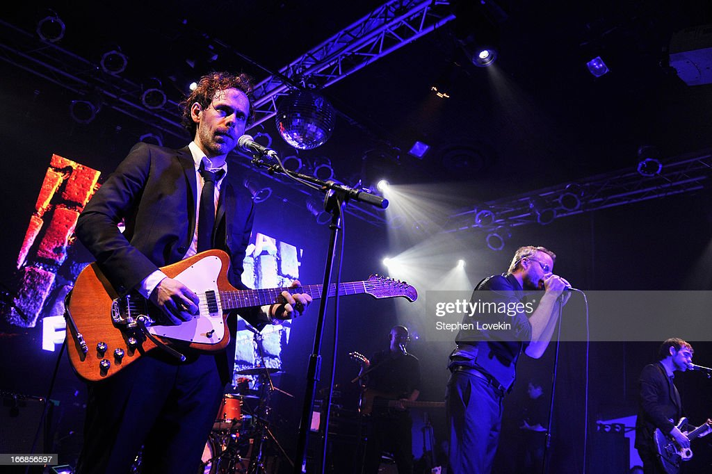 <a gi-track='captionPersonalityLinkClicked' href=/galleries/search?phrase=Bryce+Dessner&family=editorial&specificpeople=4836612 ng-click='$event.stopPropagation()'>Bryce Dessner</a>, <a gi-track='captionPersonalityLinkClicked' href=/galleries/search?phrase=Matt+Berninger&family=editorial&specificpeople=4334193 ng-click='$event.stopPropagation()'>Matt Berninger</a> and <a gi-track='captionPersonalityLinkClicked' href=/galleries/search?phrase=Aaron+Dessner&family=editorial&specificpeople=4502820 ng-click='$event.stopPropagation()'>Aaron Dessner</a> of The National perform at the 2013 Tribeca Film Festival opening night after party for 'Mistaken For Strangers' sponsored by American Express on April 17, 2013 in New York City.