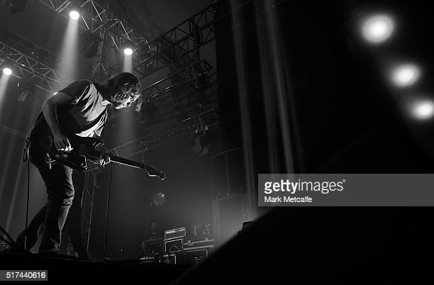 Bryce Dessner of The National performs live for fans at the 2016 Byron Bay Bluesfest on March 25 2016 in Byron Bay Australia