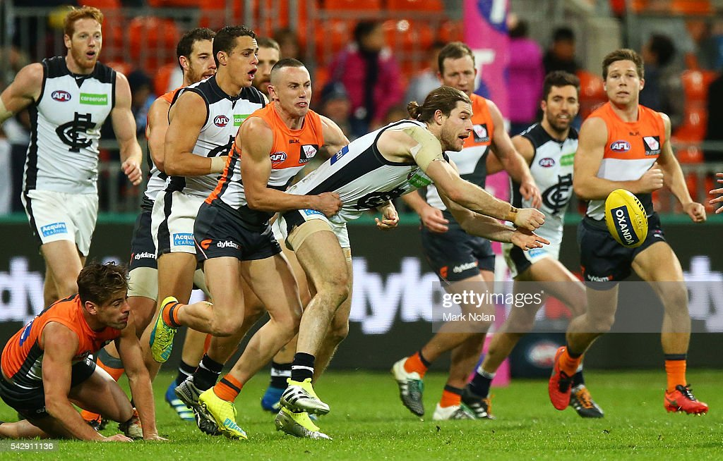 <a gi-track='captionPersonalityLinkClicked' href=/galleries/search?phrase=Bryce+Gibbs+-+Australian+Rules+Football+Player&family=editorial&specificpeople=14712789 ng-click='$event.stopPropagation()'>Bryce Gibbs</a> of Carlton in action during the round 14 AFL match between the Greater Western Sydney Giants and the Carlton Blues at Spotless Stadium on June 25, 2016 in Sydney, Australia.
