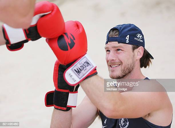 Bryce Gibbs of the Blues boxes during a circuit training session at Kurrawa Beach during the Carlton Blues AFL preseason training camp on December 16...