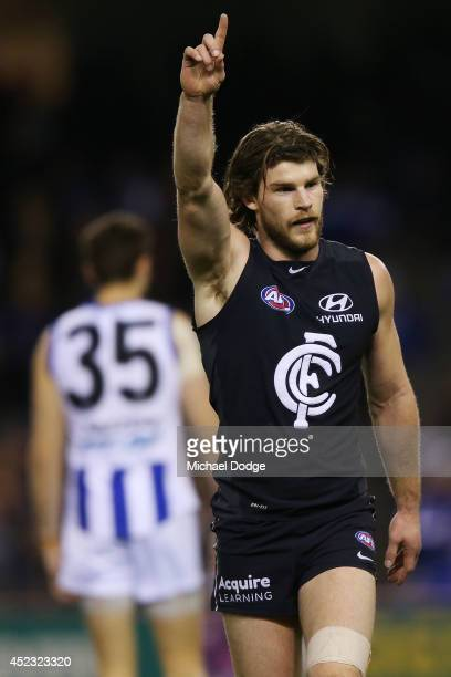 Bryce Gibbs of the Blues celebrates a goal during the round 18 AFL match between the Carlton Blues and the North Melbourne Kangaroos at Etihad...