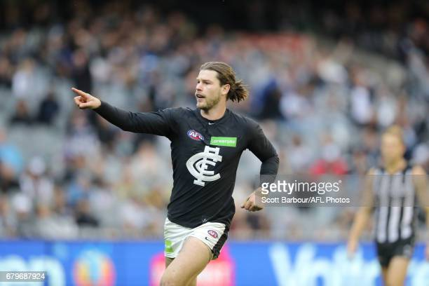 Bryce Gibbs of the Blues celebrates after kicking a goal during the round seven AFL match between the Collingwood Magpies and the Carlton Blues at...