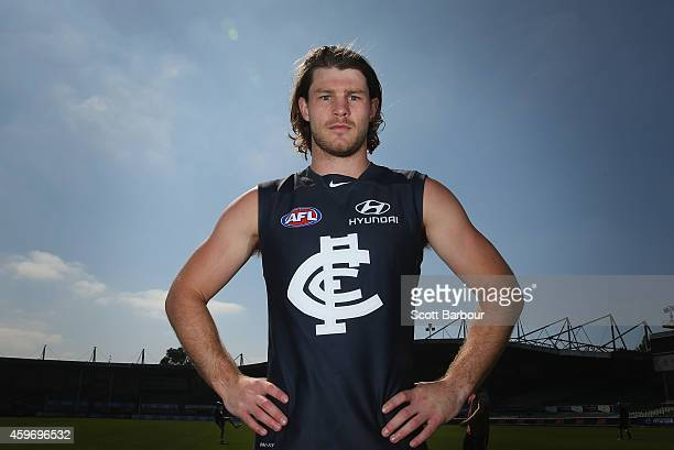 Bryce Gibbs of the Blues poses as he unveils Carltons guernsey for 2015 during a Carlton Blues AFL preseason training session at Visy Park on...