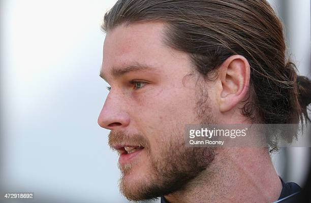 Bryce Gibbs of the Blues speaks to the media during a Carlton Blues AFL media opportunity at Ikon Park on May 11 2015 in Melbourne Australia