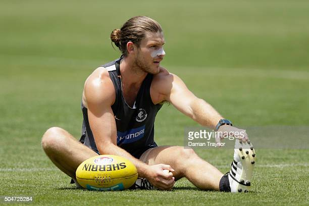 Bryce Gibbs of the Blues stretches before a Carlton Blues AFL preseason training session at Ikon Park on January 13 2016 in Melbourne Australia