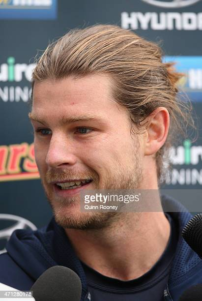 Bryce Gibbs of the Blues talks to the media during a Carlton Blues AFL media session at Ikon Park on April 27 2015 in Melbourne Australia